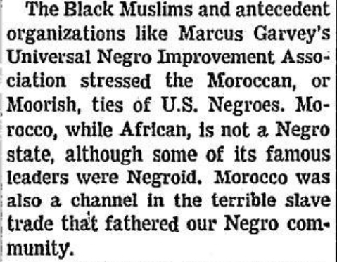 The Moroccan, or Moorish ties of U.S. Negroes